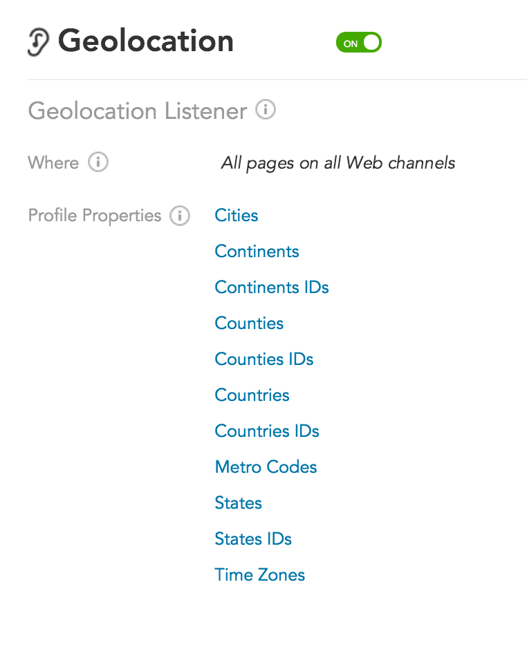 How does the BlueConic customer data platform track location with Geolocation Listeners?