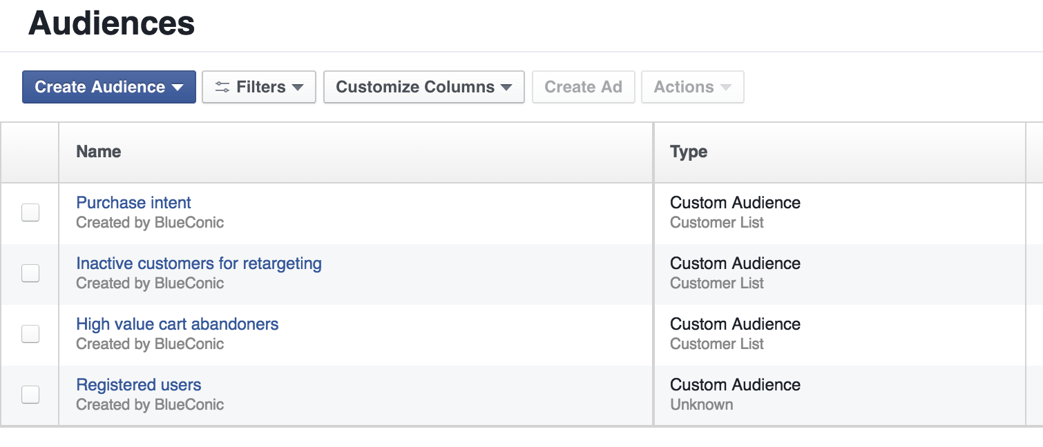 How do I retarget customers using the BlueConic customer data platform and Facebook?