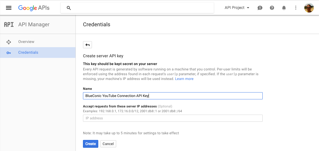 How to use the API key for a YouTube connection in BlueConic