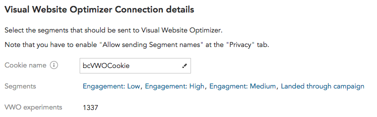 How to share customer segments and customer profile data with BlueConic and Visual Website Optimizer