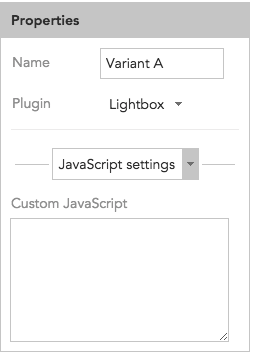 How to use JavaScript settings in content overlay lightboxes in BlueConic