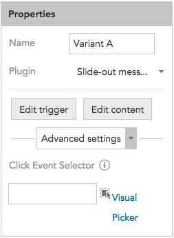 How to adjust Advanced settings and Click Event Selectors for Slide-out dialogues and messages in BlueConic