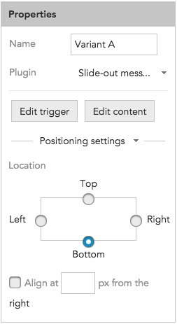 How to adjust positioning settings for a Slide-out message in BlueConic